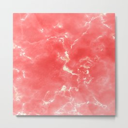 Living coral white modern abstract marble Metal Print