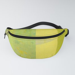 Green and Yellow Collage with Stripes Fanny Pack
