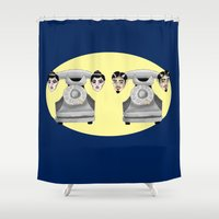 headphones Shower Curtains featuring HeadPhones by Chris Talbot-Heindl