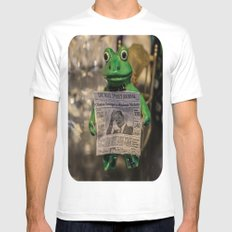 Froggy Reads the Wall Street Journal White MEDIUM Mens Fitted Tee