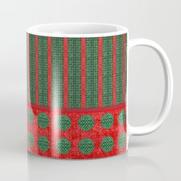 Polka Dots and Stripes in Christmas Red and Green Coffee Mug