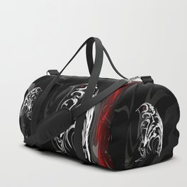 Penguin pigeon 1. White on black backgroun - (Red eyes series) Duffle Bag
