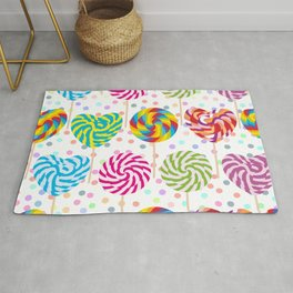 lollipops pattern, colorful spiral candy cane with twisted design Rug