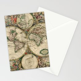 1689 Antique World Globe Map Stationery Cards