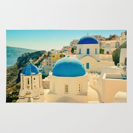 Santorini Greece Famous Blue Domes Rug