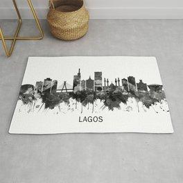 Lagos Nigeria Skyline BW Rug