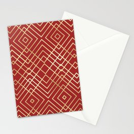Modern Chinese Red Art Deco Geometric Pattern Stationery Cards