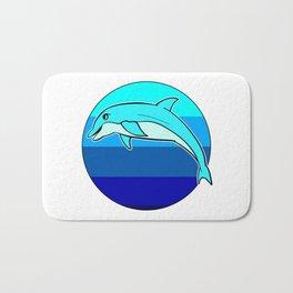 Retro Jumping Dolphin 1980s Beach Design Bath Mat