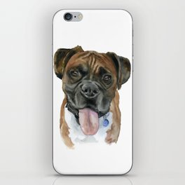 Boxer Dog Portrait Watercolor iPhone Skin
