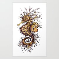 seahorse Art Prints featuring Seahorse by TAOJB