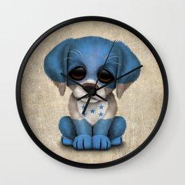 Cute Puppy Dog with flag of Honduras Wall Clock