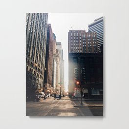 Chicago Street Commuter Metal Print