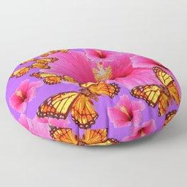 DECORATIVE MONARCH BUTTERFLIES  PINK HIBISCUS   PURPLE ART Floor Pillow