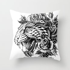 Ornate Leopard Black & White Variant Throw Pillow