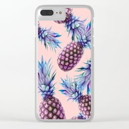 Purple Pineapple's on Coral Clear iPhone Case