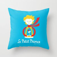 le petit prince Throw Pillows featuring Le Petit Prince by Andrea Tobar