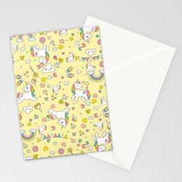 Unicorn Yellow Pattern Stationery Cards