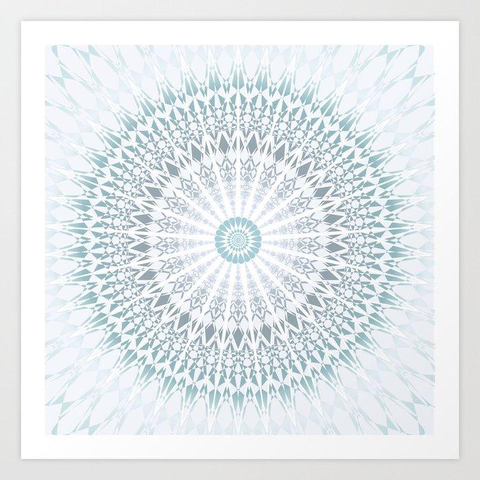 Teal Aqua Mandala Kunstdrucke