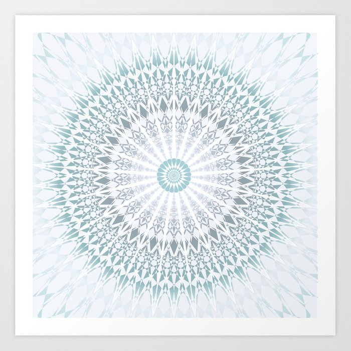 Teal Aqua Mandala Art Print