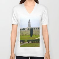 battlefield V-neck T-shirts featuring Verdun Memorial 14-18  by Premium