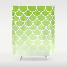 Ombre Fish Scale In Lime Shower Curtain