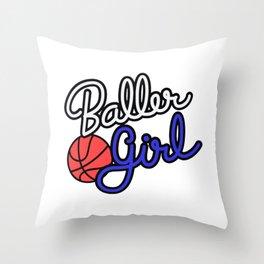 Baller Girl Throw Pillow
