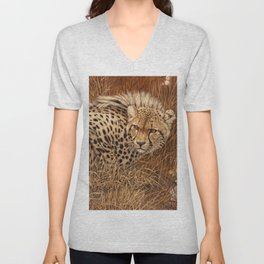 Crouching cheetah Unisex V-Neck
