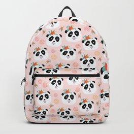 Panda bear with flowers seamless pattern Backpack