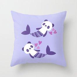 Cute purple merpandas Throw Pillow
