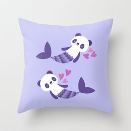 Cute purple merpandas Throw Pillow