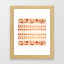 052 Traditional orange and red navajo pattern interpretation Framed Art Print