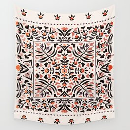 N153 - Floral Bohemian Traditional Moroccan Style Illustration Wall Tapestry
