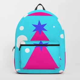 Pink Christmas tree on turquoise background Backpack