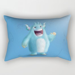 Cute little blue singer monster - Custom T Shirt Rectangular Pillow