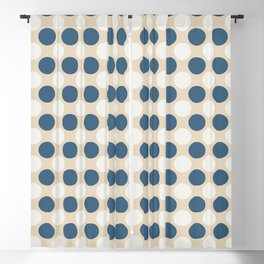 Dark Blue and Off White Uniform Large Polka Dots Pattern on Beige Matches Chinese Porcelain Blue Blackout Curtain