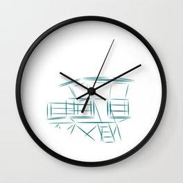 Lifeguard Tower Line Art Wall Clock
