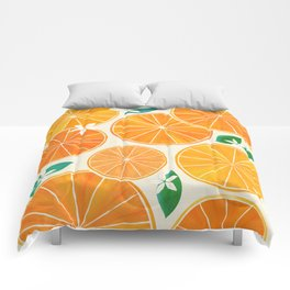 Orange Slices With Blossoms Comforters