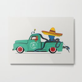 Octopus' journey on Ford f100 Metal Print