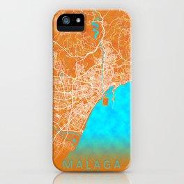 Malaga, Spain, Gold, Blue, City, Map iPhone Case