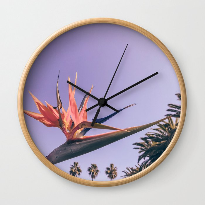 Birds of Paradise Print {2 of 3} | Palm Trees Ocean Summer Beach Magenta Photography Art Wall Clock
