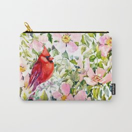 Cardinal Birds and Wild Rose Flowers Carry-All Pouch