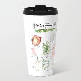 Winter Favorites in Watercolor Travel Mug