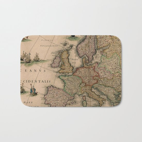 Antique Map Design Bath Mat