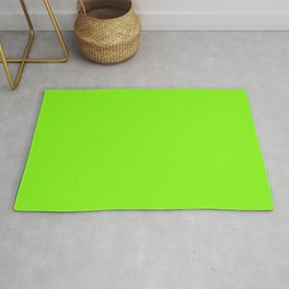 Solid Bright Neon Lawn Green Color Rug