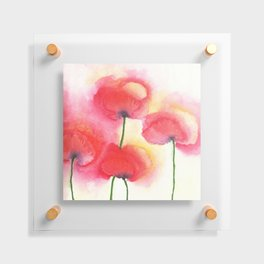 Red Poppies in Watercolor / Loose Wash + Negative Painting Floating Acrylic Print