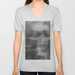Fusion Abstract Watercolor Blend Pantone Pewter / Fluid Art Ink Unisex V-Neck