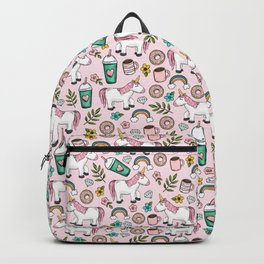 Pink Unicorn, Sweet Pink, Donuts and Frappuccino, Cute Emoji Print for Girls, Tween Decor Backpack