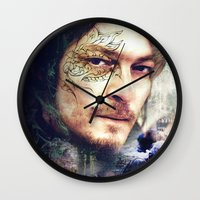 daryl dixon Wall Clocks featuring Daryl Dixon by András Récze
