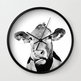 Cow photo - black and white Wall Clock