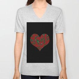 Strawberries Heart Unisex V-Neck
